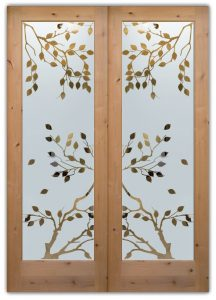 Glass Front Doors Cherry Tree Asian Etched Glass asian decor Sans Soucie
