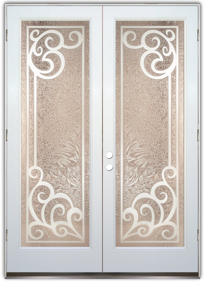 Double Doors with Etched Glass Tuscan Decor by Sans Soucie