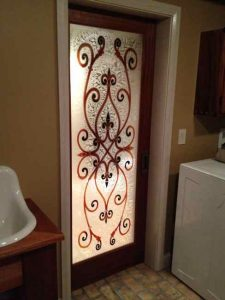 etched glass doors wrought iron