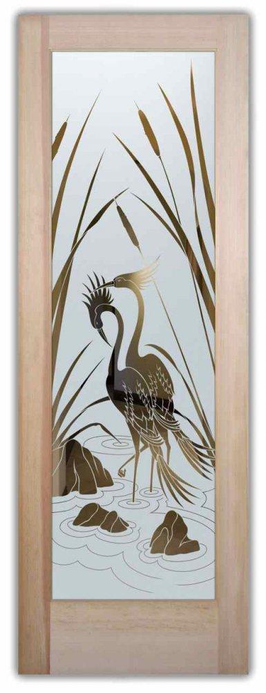 Glass Doors Etched Glass Asian Decor Nature Birds Cranes Cattails