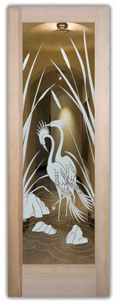 interior doors with glass etching custom glass rustic style birds nature cranes & cattails sans soucie