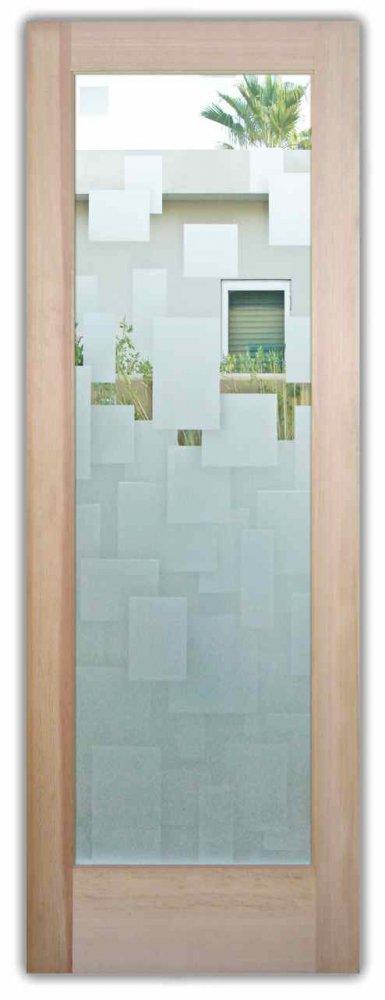 Glass Doors Entry Etching Glass Modern Design Cubes Sans Soucie