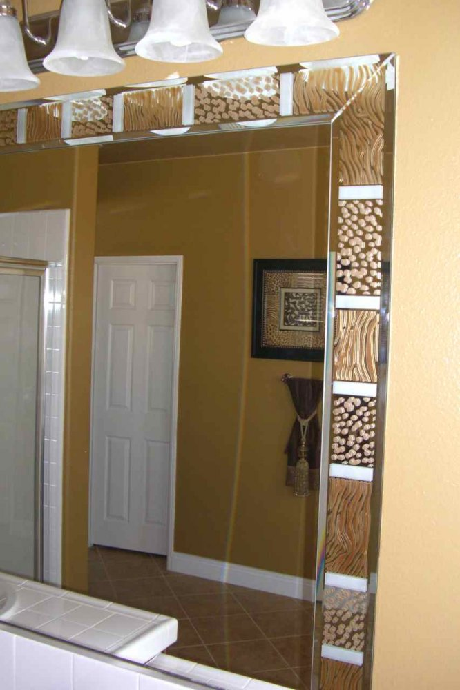 Custom Mirrors Carved And Painted Animal Print Border By Sans Soucie