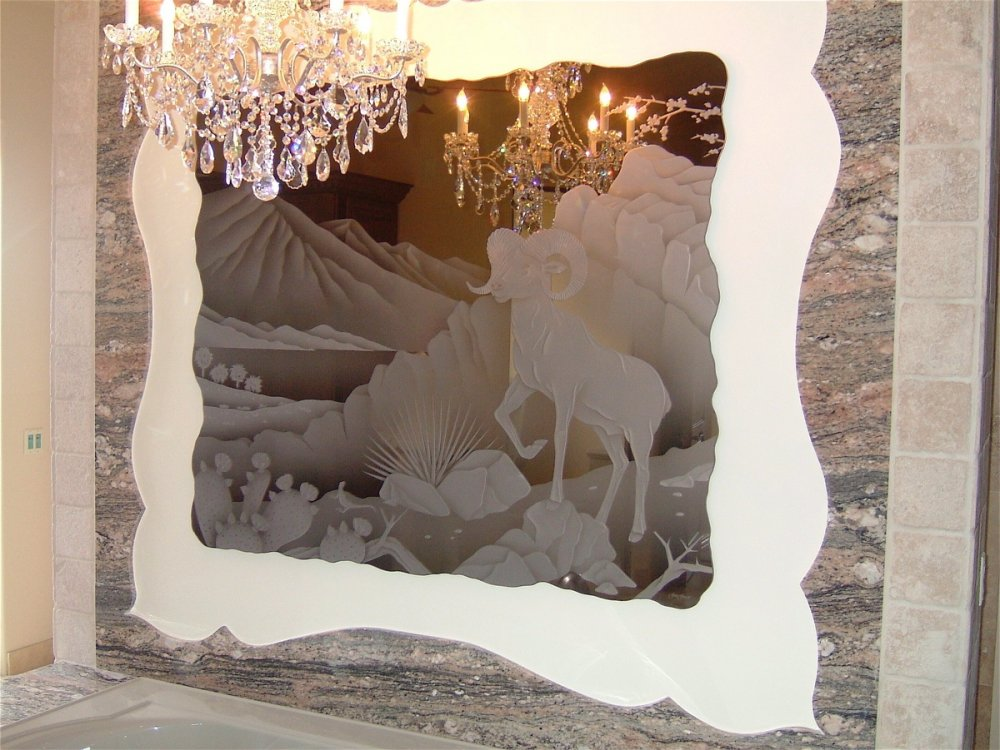 Custom Mirrors with Carved Shaded and Chiseled Edged Glass Western by Sans Soucie