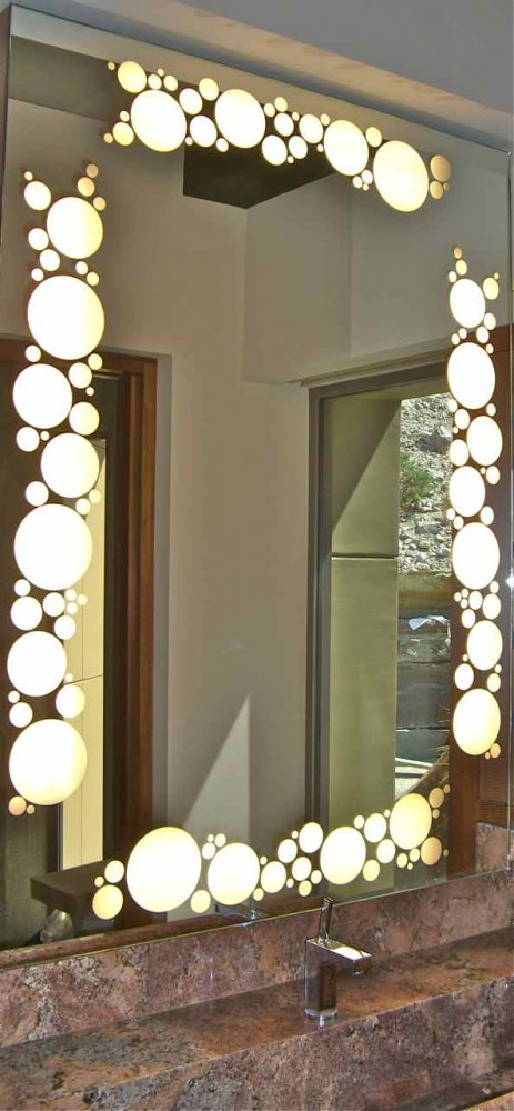 Bubbles Border Back Lit Custom Mirrors Sans Soucie