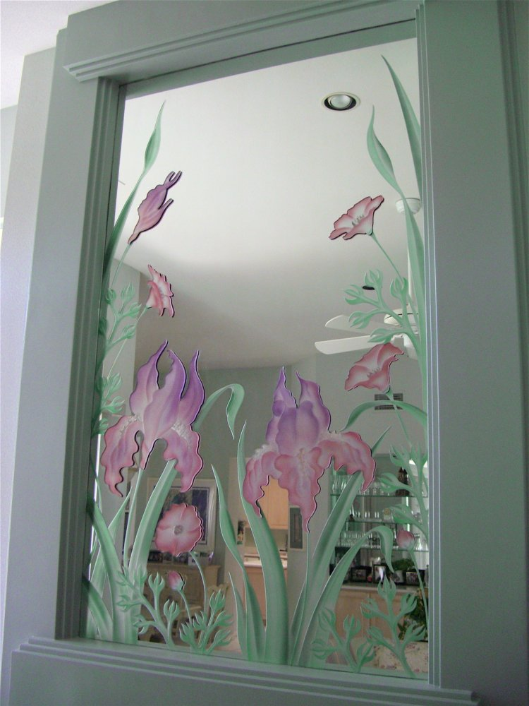 Colorful iris overlays custom mirrors sans soucie for Mirror glass design