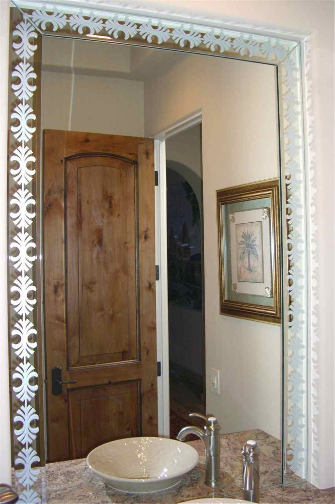 Fancy palm border custom mirrors sans soucie for Mirror glass design