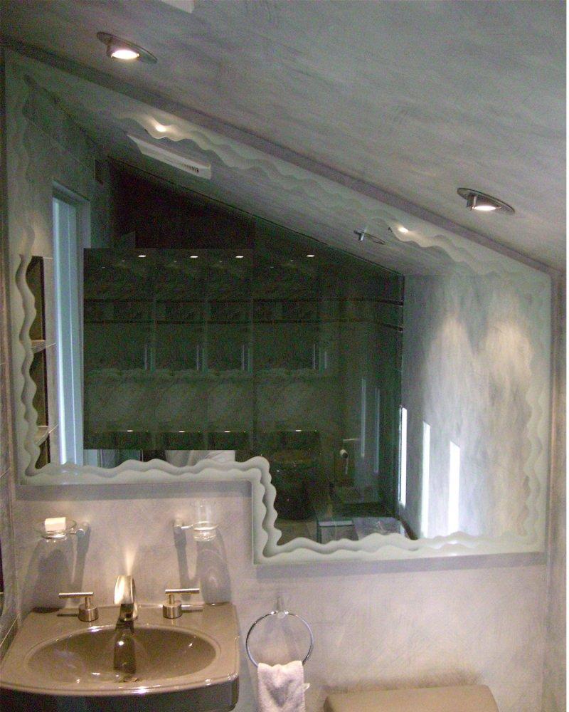 Gentle waves border custom mirrors sans soucie for Custom mirror glass