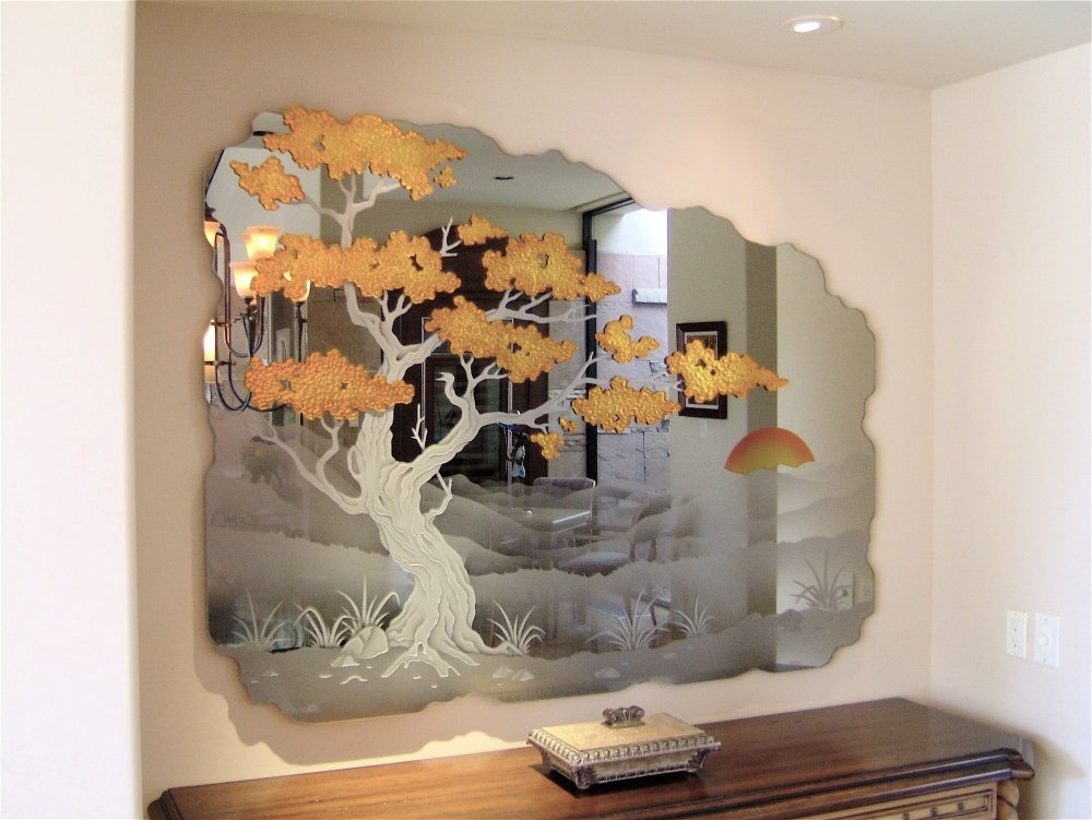 Mirrors With Etched Carved And Painted Glass Asian Bonsai By Sans Soucie