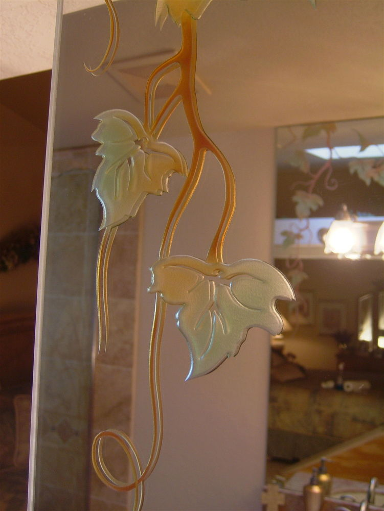 Mirrors With Carved And Painted Glass Golden Ivy By Sans Soucie