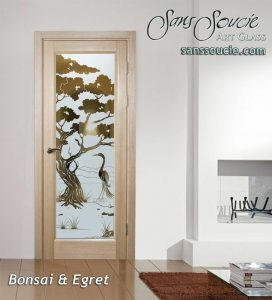 interior frosted glass doors etched glass designs wooden style birds natural asian decor sans soucie bonsai egret