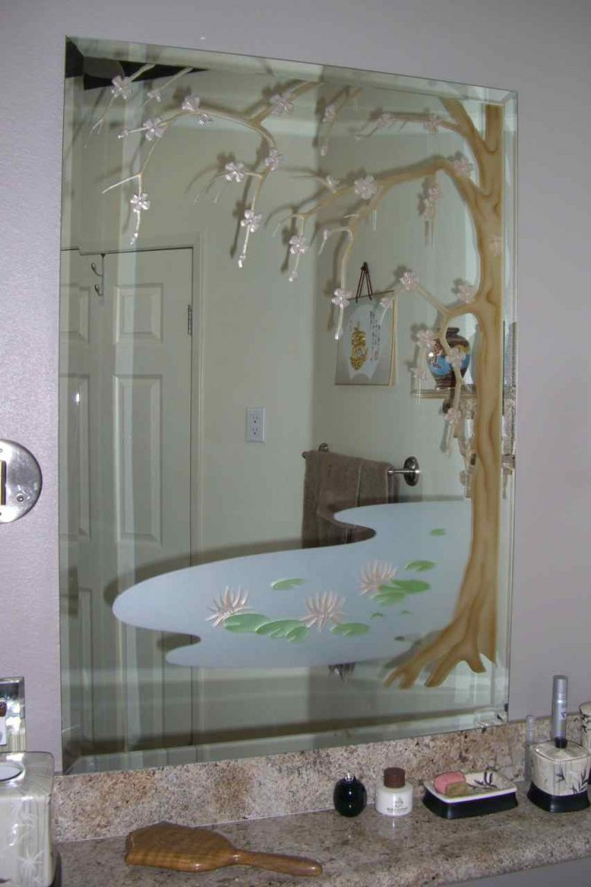 Country bathroom design - Cherry Blossom Tree Decorative Mirrors Sans Soucie