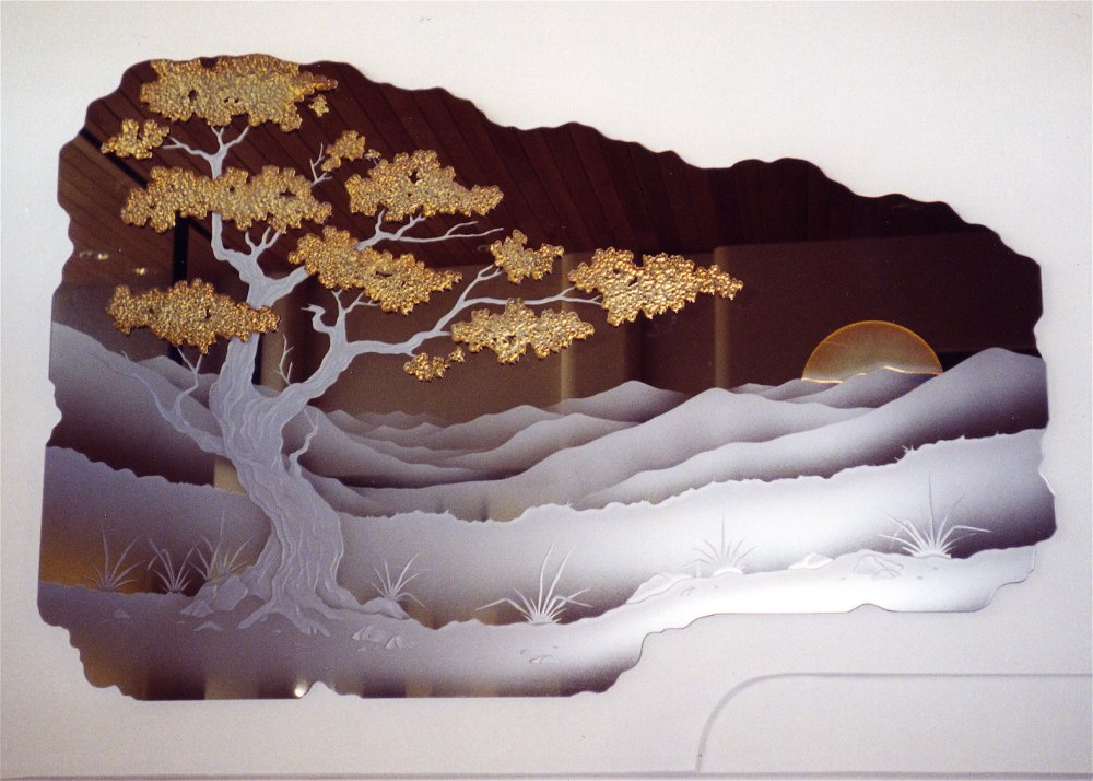 Decorative Mirrors Craved and Painted bonsai by Sans Soucie