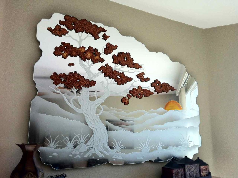Decorative Mirror Etched Carved and Painted Asian bonsai by Sans Soucie