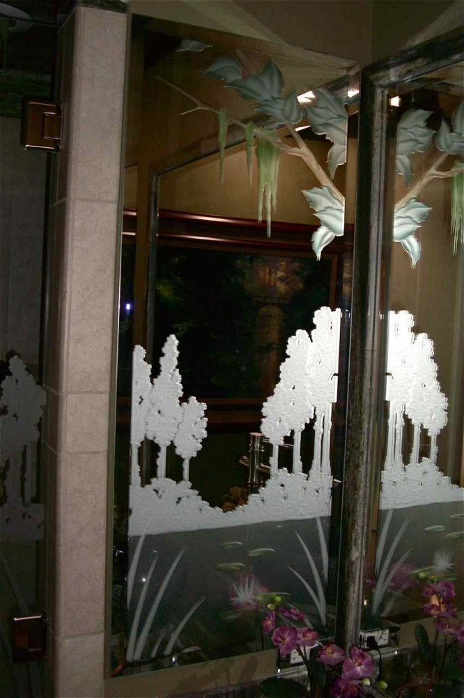 Cabinet Bath Mirrors Etched Carved Painted lilies by Sans Soucie