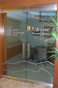 Frameless Entry Doors Etched Glass Logos by Sans Soucie