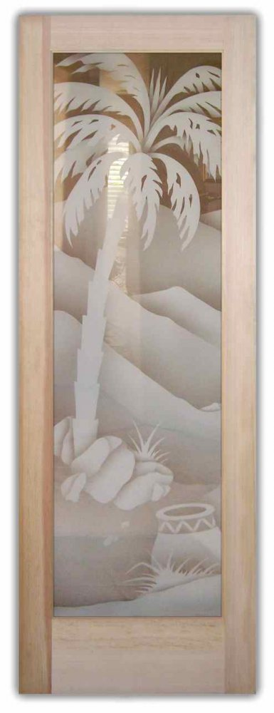 Decorative Floral Glass Shower Door Glass Front Doors Etched Glass Desert Decor Desert Palm Trees