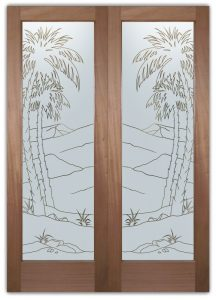 Desert Palms Front Double Doors with Glass Etching Trees Decor