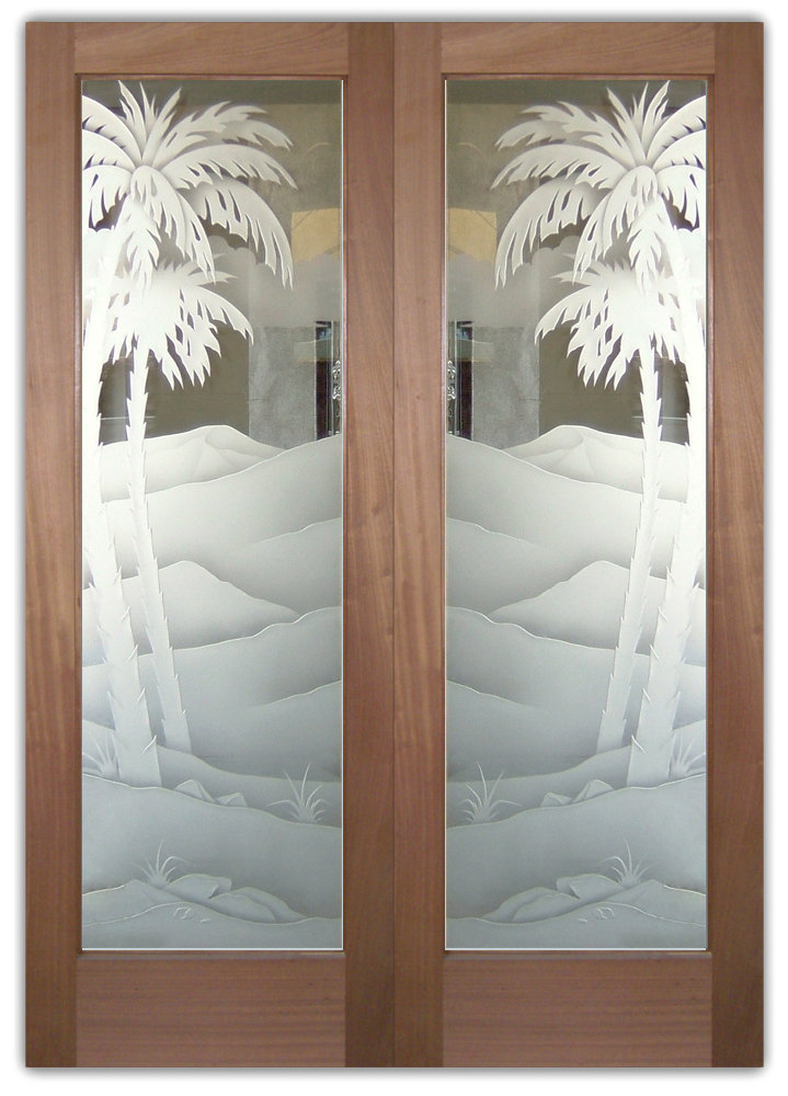 double glass doors etched glass Western Decor palm trees mountains western style
