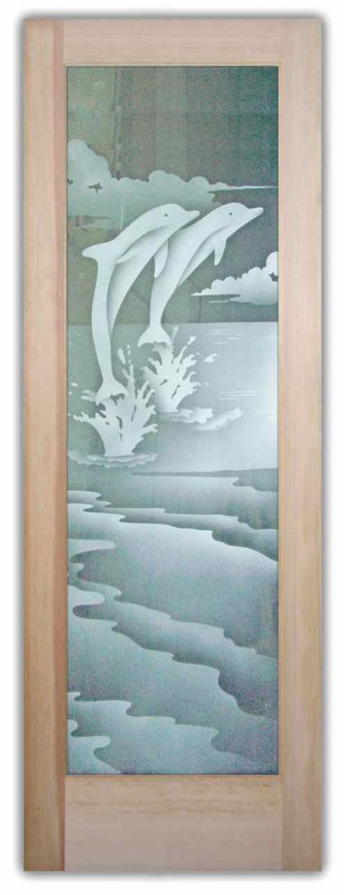 Dolphins Leaping 2d Etched Glass Doors Beach Decor