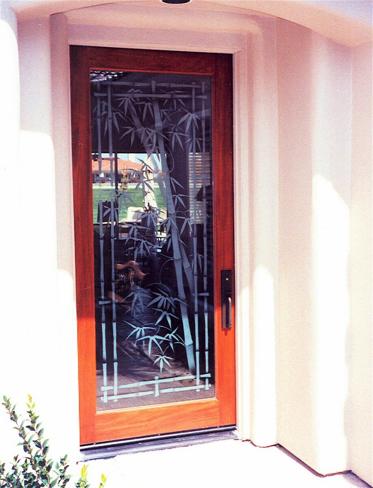 Entry Doors With Glass Etching Asian Bamboo By Sans Soucie