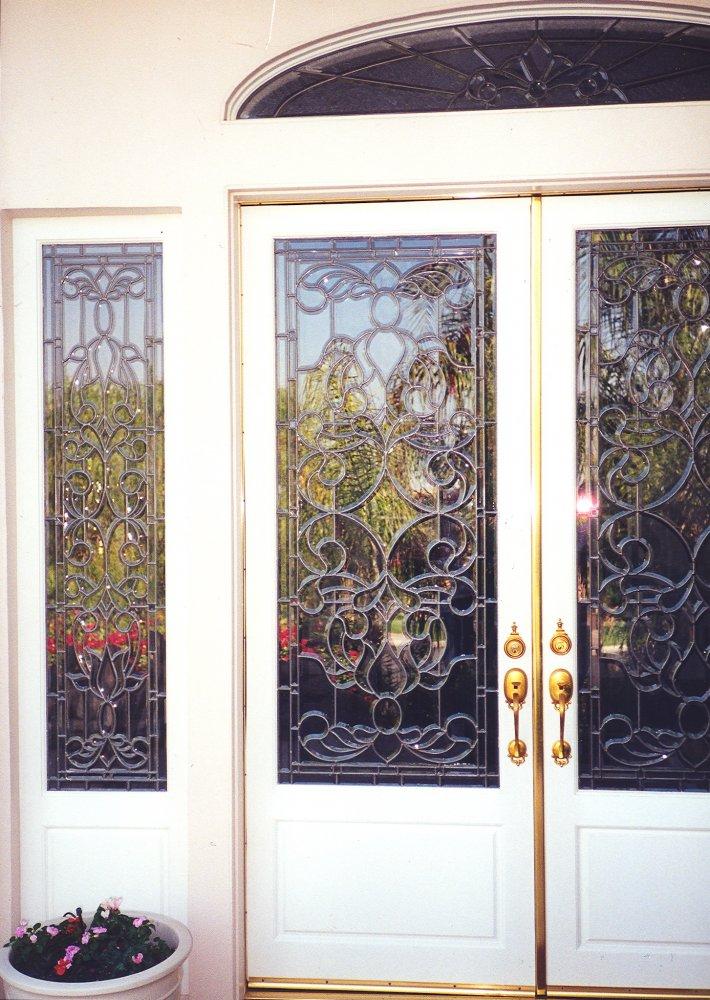 Beveled clusters leaded door glass inserts sans soucie for Door glass inserts