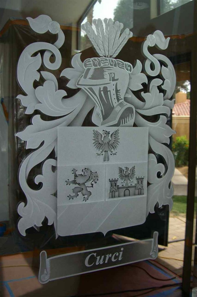 Butlers Pantry Doors with Glass Etching Craved by Sans Soucie & Curci Coat of Arms Door Glass Inserts Sans Soucie