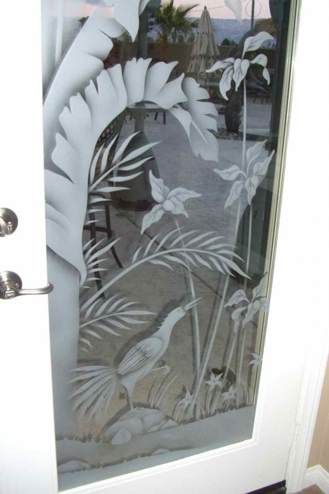 Exterior Door Inserts with Glass Etching Tropical by Sans Soucie