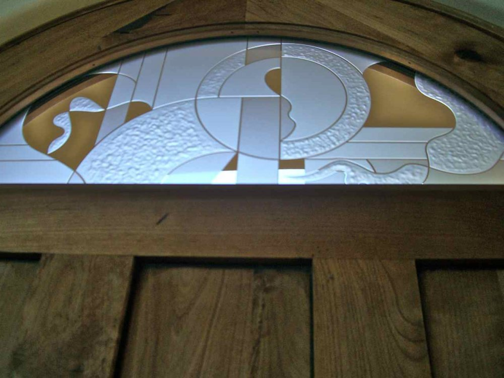Arched Top Window Insert Carved Glass Abstract by Sans Soucie