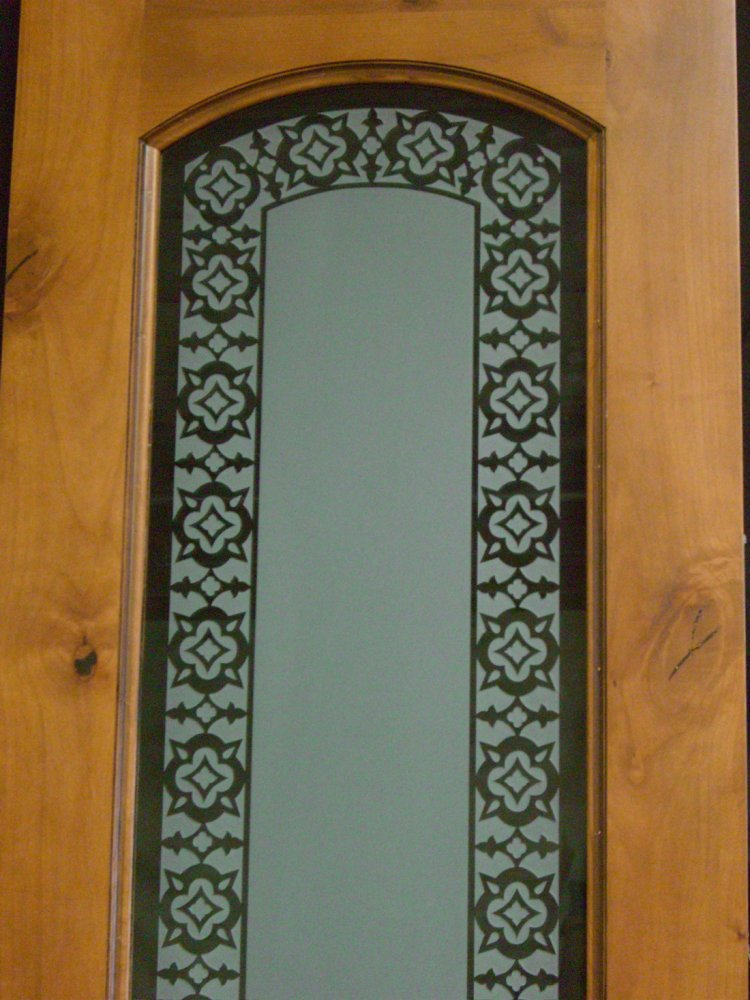 Pantry Door Inserts with Etched and Carved Glass Border by Sans Soucie