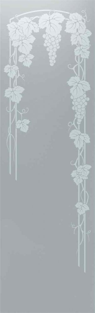 Door Glass Inserts Vineyard Grapes - Hanging Sans Soucie