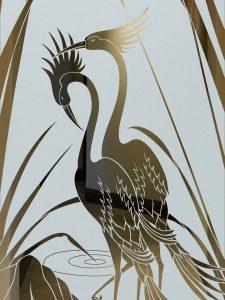 Etched Glass Asian Decor Nature Birds Cranes Cattails