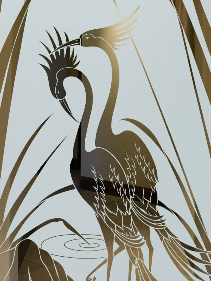 Cranes Amp Cattails Etched Glass Doors Asian Decor