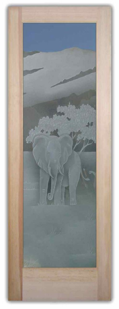 Elephant In The Wild 3d Etched Glass Doors African Decor