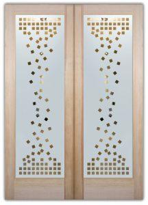 double entry doors frosted glass cubes art deco design sans soucie falling squares