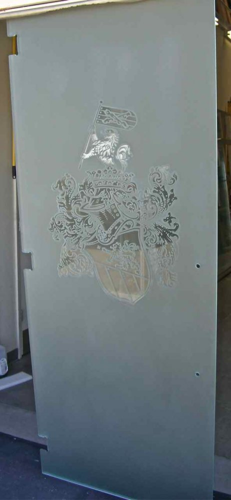 Frameless Glass Doors Craved and Frosted family crest by Sans Soucie