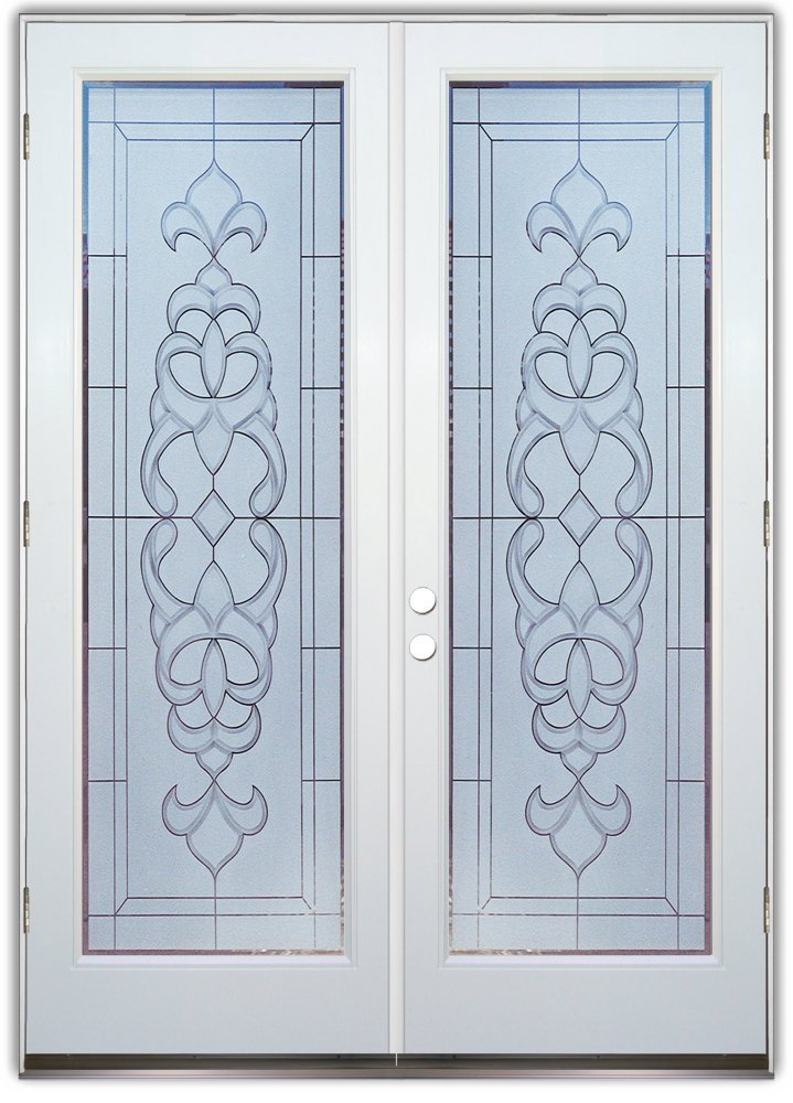 Faux bevels 2d etched glass doors victorian style for Etched glass entry doors