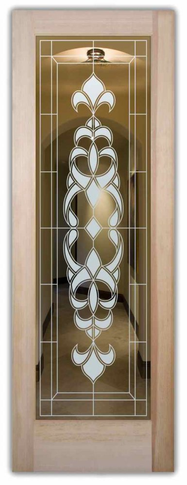 Interior Doors With Glass Etching Frosted Glass French Design Fleur
