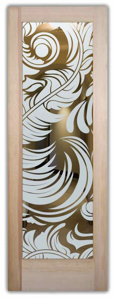 Feathers interior doors with glass etching french decor - Decorative french door curtains designs and buying tips ...