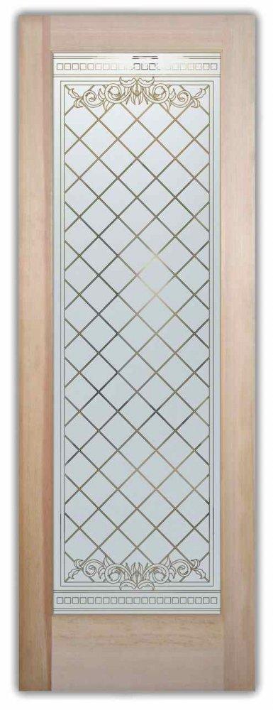 interior glass doors etched glass grid pattern diamond geometric shapes victorian decor sans soucie filigree lattice