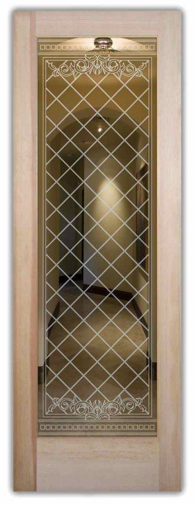 interior doors with glass etching custom glass Victorian design diamond pattern filigree lattice sans soucie