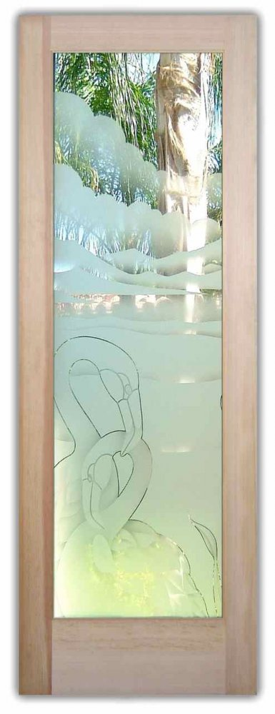 Flamingos Nesting 2d Etched Glass Doors Tropical Decor