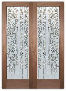 Forest Trees Front Double Doors with Glass Etching Rustic Decor