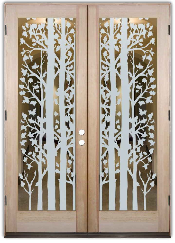 double entry doors glass etching rustic design leaves foliage brush forest trees sans soucie & double entry doors glass etching rustic design leaves foliage brush ...