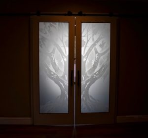 Front Glass Doors Etched Glass Tree oak tree rustic Sans Soucie