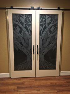 Exterior Glass Doors Etched Glass Tree oak tree rustic Sans Soucie