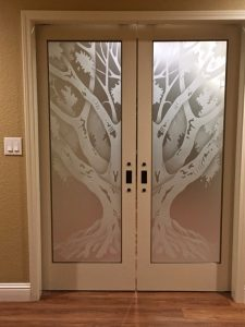 Interior Glass Doors Etched Glass Tree oak tree Sans Soucie