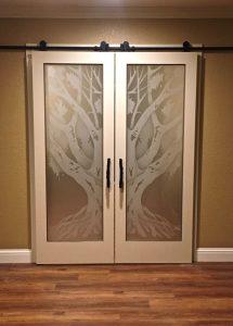 Interior Glass Doors Etched Glass Tree oak tree rustic Sans Soucie
