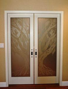 Interior Glass Doors Etched Glass Tree oak tree western Sans Soucie