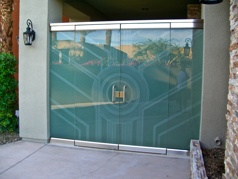 Frameless Glass Door Etched Glass Contemporary Sans Soucie